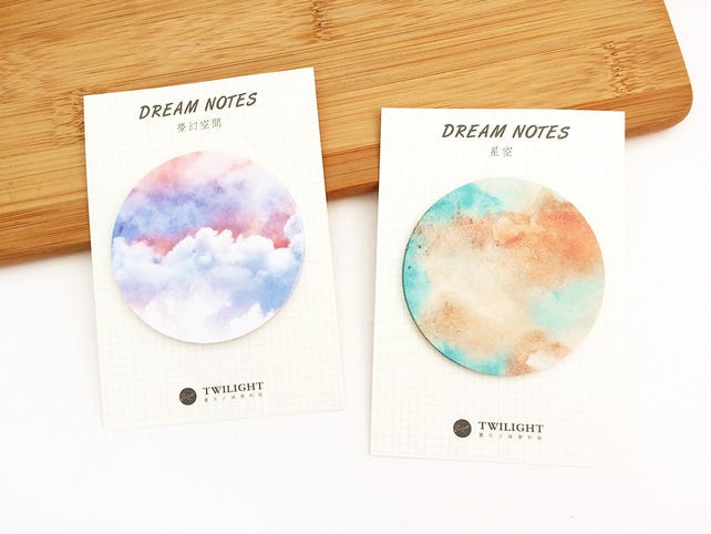 2 pcs Dream Notes Sticky Notes - Brown / Purple Stationery Kawaii Cute Round Memo Planner Notepad