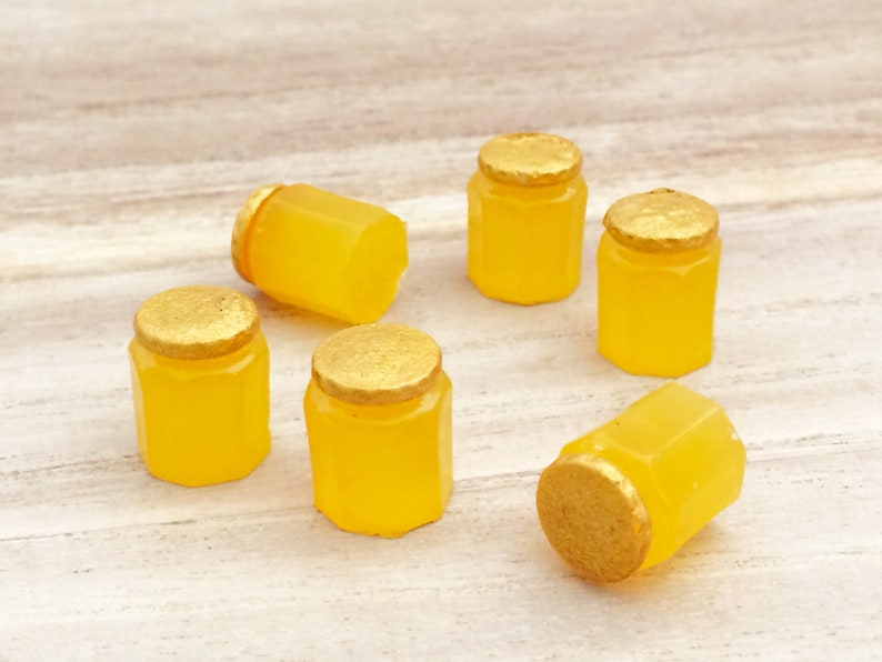 3c60a017a9390 6 pcs Mini Honey Cabochons - Yellow Kawaii Decoden Resin Miniature Fake  Food Slime Charms