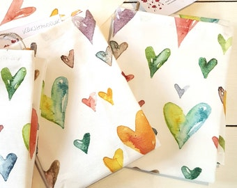 Quality Tea Towel, with Watercolor Hearts design in cotton/linen fabric