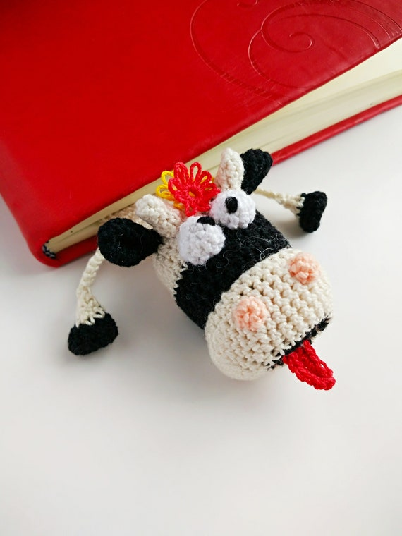 Crochet Bookmark Bookmark Cow Funny Gifts Knitted Bookmark Etsy
