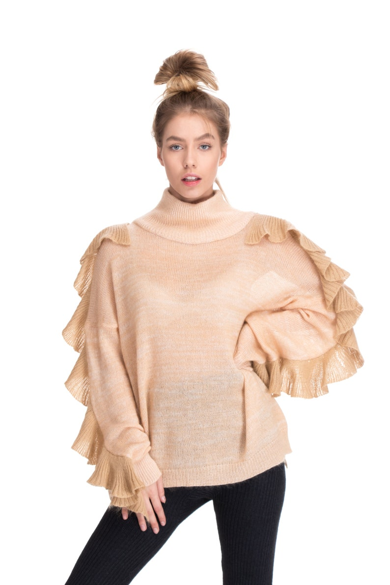 beige cashmere sweater for women knitted ruffles offwhite image 0