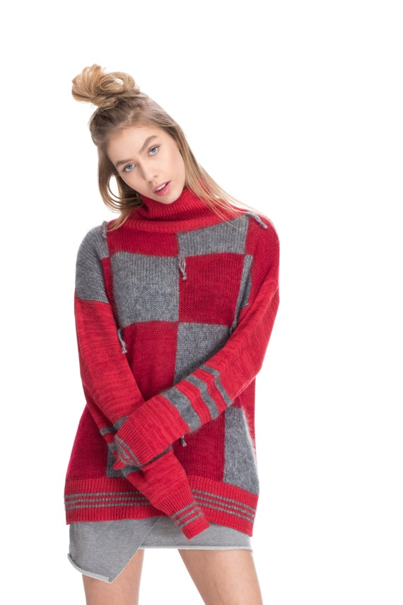 red turtleneck sweater, warm knitted jumper, designer turtleneck sweater, luxury knitwear, oversized clothing, women knitted fashion, ladies