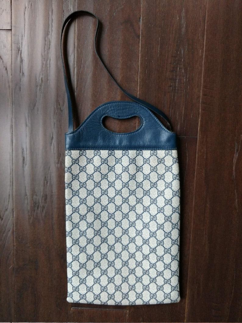 b8ef4edbbe0a Vintage Gucci Wine Shopper Tote Handbag Shoulder Bag Blue   Etsy