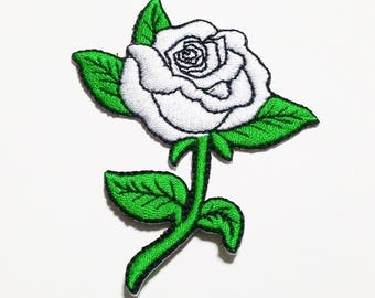 White rose embroidered iron on patch.