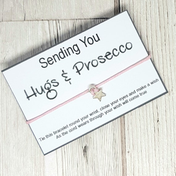 Wish Bracelet Sending you hugs /& prosecco DD1568