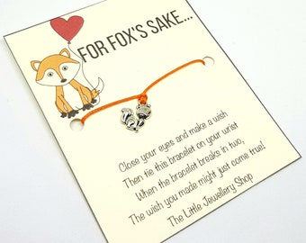For Fox's Sake, Fox Jewellery, Wish Bracelet, Fox Charm, Wildlife, Friendship Bracelet, Fox Gift, BFF, Adult Humour