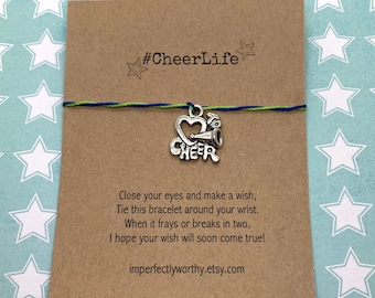 CLEARANCE CheerLife wish bracelet, cheerleader jewelry, team colours, cheer squad gift, tie-on anklet, party favors, friendship bracelets