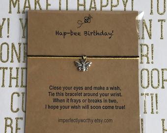 Hap BEE Birthday Wish Bracelet Happy Bee Charm Friendship String Minimal Jewelry Tie On Anklet Gift Under 5