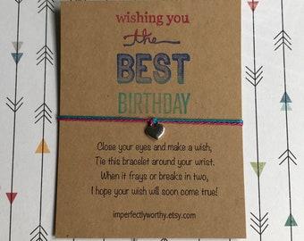 Birthday Wish Bracelet Heart Charm Girls Friendship Minimal String Jewelry Simple Gift Under 5 Coworker Friend Inexpensive