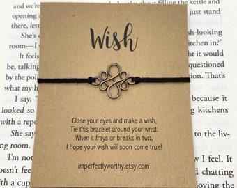 peace gift under 5, Make a Wish minimal string bracelet dream friendship bracelet summer anklet Feather Wish Bracelet just because