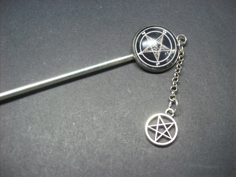 Sigil detail metal hair stick with inverted pentagram Kawaii Pastel Nu Neo Goth Gothic Witchy  Occultist Satanic Pagan Occult Image