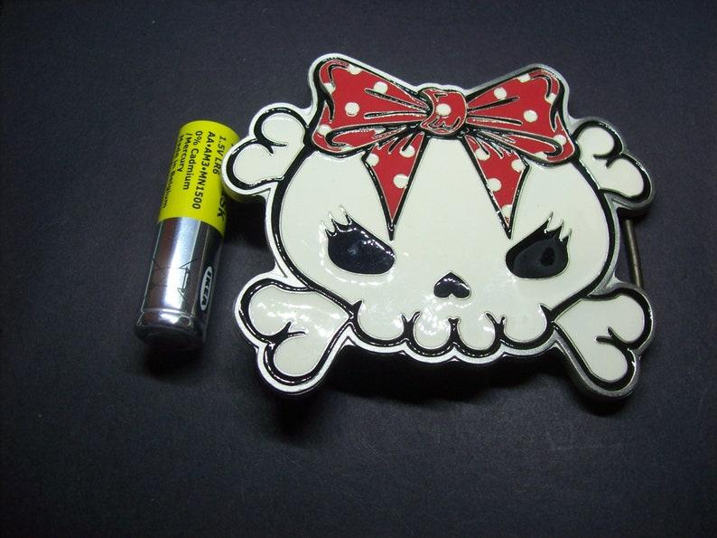 OOP Vintage Rare Kreepsville 666 Skull kitty belt buckle Goth Gothic Witchy Punk Alternative Psychobilly Rockabilly Retro