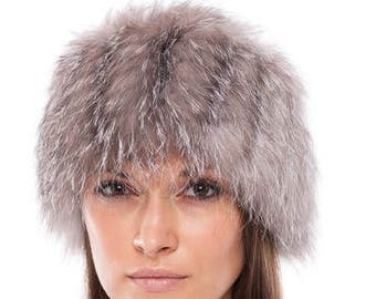 96a80dcdb4956 Handmade blue frost fox fur head band