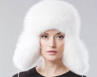 Handmade white white fox fur Ushanka hat dac58e6e177
