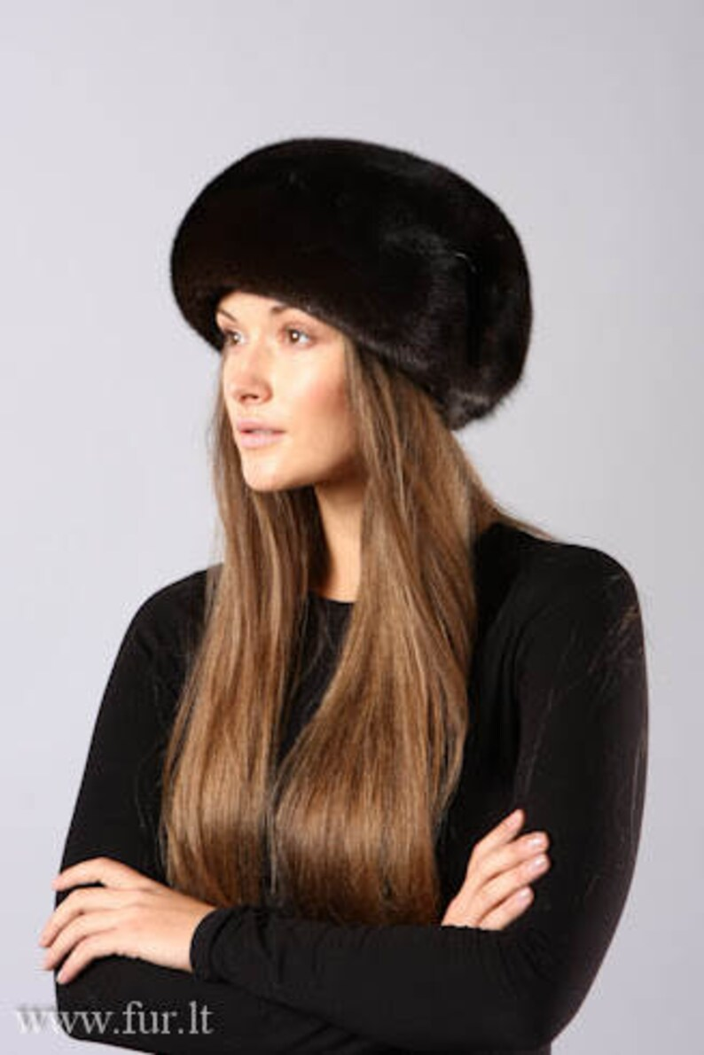 Handmade black mink fur beret