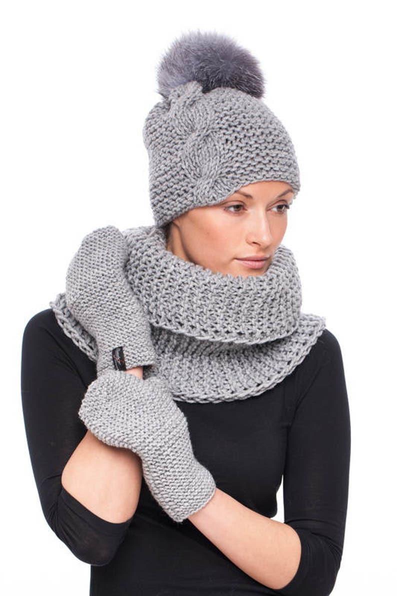 Handmade knitted grey wool hat with blue silver fox fur pom pom