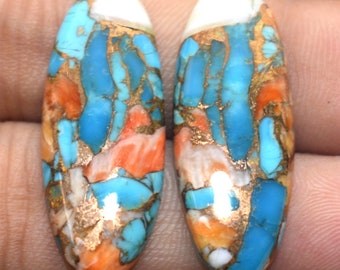 Natural Orange Copper Turquoise Gemstone 35x25x6.5 mm 1 Pcs Orange Mohave Cabochon Turquoise Jewelry Making Cabochon- OT276 Oval Shape