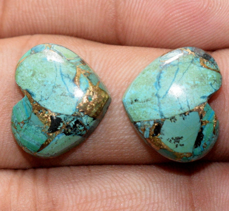Azurite Malachite Copper Cabochon 16x14x4 MM Matching Pair Handmade Loose Gemstone Smooth Plain Heart Shape 14 Cts