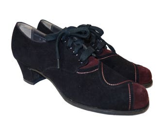 245660ac0395c3 SOLD 1930s Two Tone Suede Lace Up Shoes