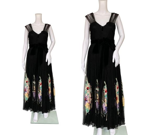 1940s Net Dress with Colourful Appliqués