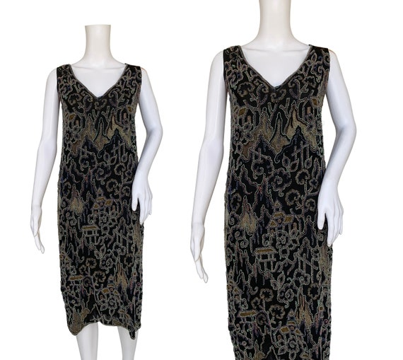 1920s Beaded Flapper Dress with Chinoiserie Design