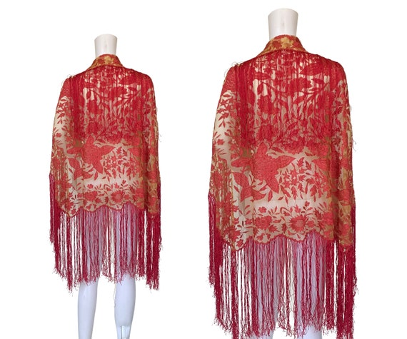 1920s Embroidered Net Shawl