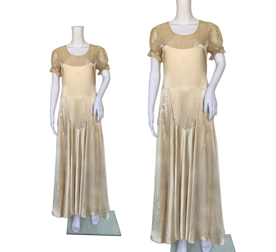 1930s Satin and Lace Dress