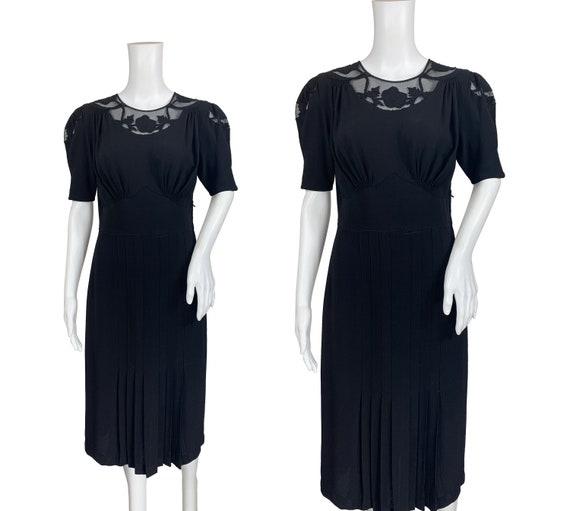 1940s Black Crepe Dress