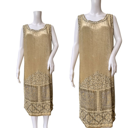 1920s Beaded Velvet Dress