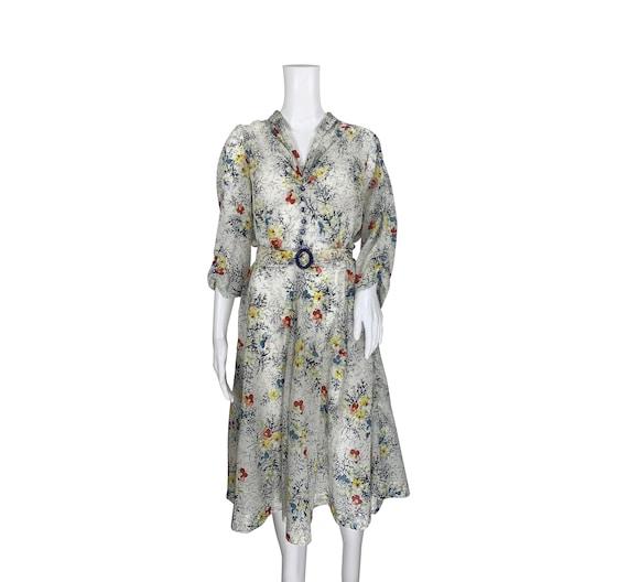 1940s Print Dress - image 2