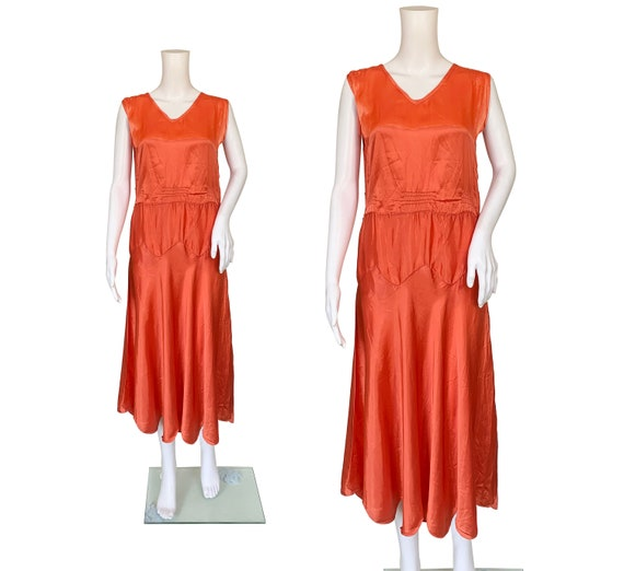 1930s Synthetic Silk Coral Red Dress
