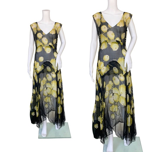 1930s Silk Chiffon Dress with Net Hem