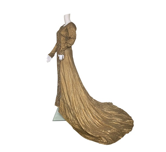 1930s Gold and Silver Lamé Dress with Train