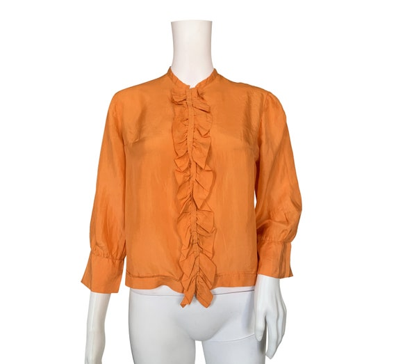 1930s Apricot Silk Ruffle Blouse