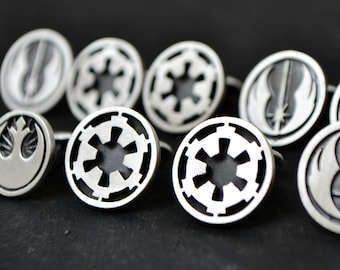 Star Wars Cufflinks, Galactic Empire Cufflinks, Sci Fi Movie Cufflinks Jewelry, Geek 925 Sterling Silver Cufflinks, Gift For Him