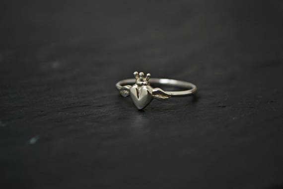 Sacred Heart Crown Claddagh Angel Wings Jewelry Ring Old Etsy