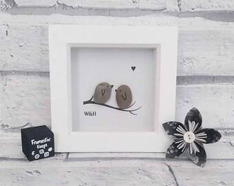 Love Birds, Pebbles, Pebble Art, Box Frame, Love, Birds, Lovers, Kissing, Initials, Couples, Relationships, Pebble, Mini Box, Frame