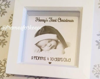 My First Christmas Personalised Ribbon Frame