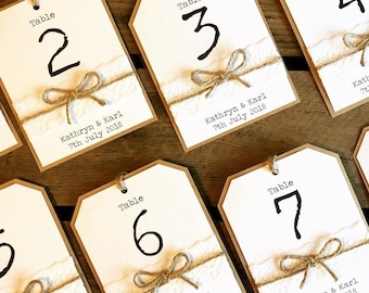 Rustic Table Numbers - Lace & Twine