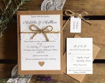 Rustic Wedding Invitation // Rustic Invite // Rustic // Vintage Wedding // Country Wedding // Invitation Set // Lace & Twine / SAMPLE