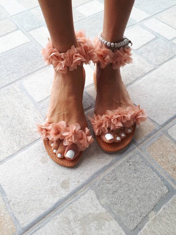 Pink nude somon Flowers Bridal Wedding greek leather flats sandals straps brown natural bohemian handmade boho