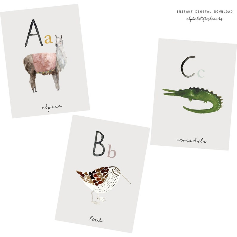 photograph regarding Abc Cards Printable named A6 Alphabet Playing cards, Printable Flashcards, Printable ABC Playing cards , Nursery Decor, Watercolor Animal Alphabet, Watercolor, Printable Flashcards
