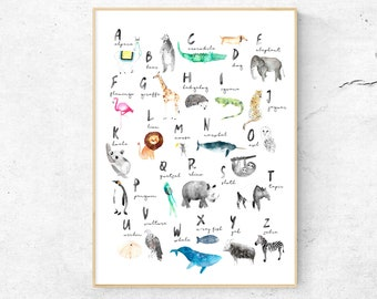 Alphabet Art, Alphabet Nursery Art, Animal Alphabet Print, Animal Letters, Watercolor ABC, Nursery Alphabet Print, ABC Poster
