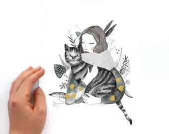 Watercolor Print, Watercolor Cat, Art print, Cat Illustration, Cat Lady, Art,  Watercolor Art, illustration, Cat Print, Cat Art, Cats