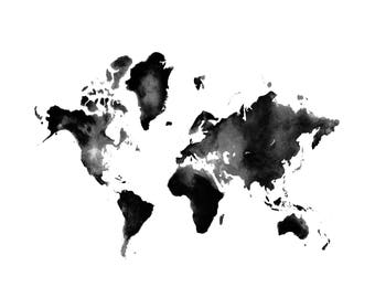 Watercolor Map, Art Print,  Watercolor Print, World Map, Painting, Illustration, Blue, Home Decor, Wall Art, Interior