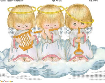 Bead Embroidery kit angels , beads kit angels , embroidery with beads, beaded embroidery