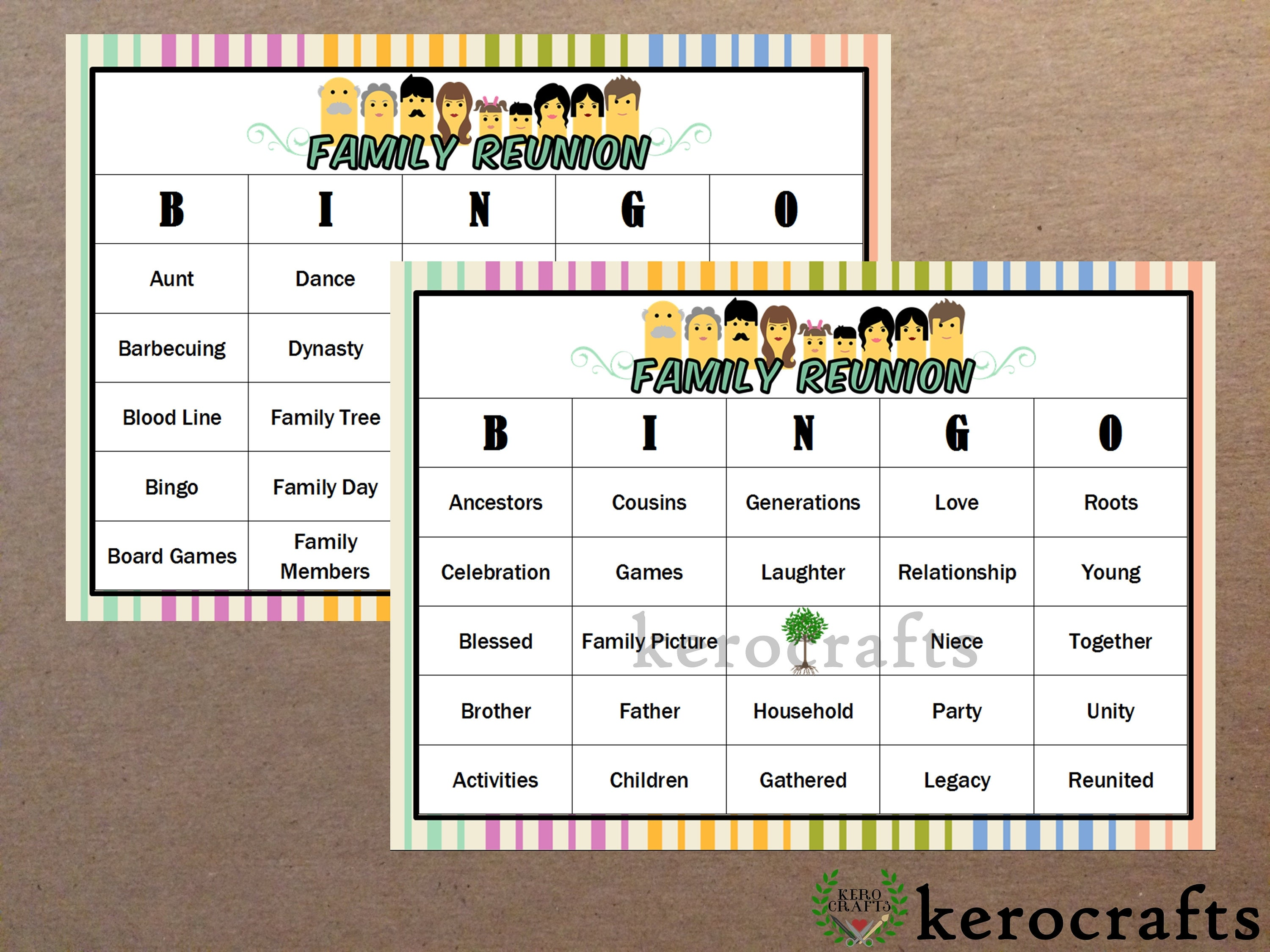 Family Reunion Bingo 40 Cards Etsy