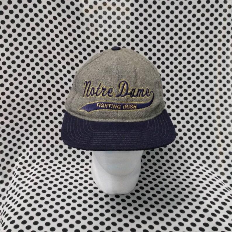 df7284d98f618 Vintage NOTRE DAME Cap Hat, Fighting Irish, Spell Out, Outdoor Street wear,  Retro Style Hat, Trucker Hat, Baseball Snapback, Adjustable fits