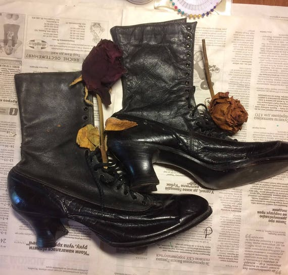 Antique clothes old boots vintage lace Victorian shoes Rarity of Tsarist Russia times Saloon girls boot Steampunk Victorian Wild West Saloon