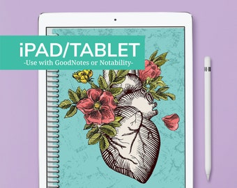 iPAD/TABLET - TEAL HEART Nursing Student Planner - July 2021 to June 2022